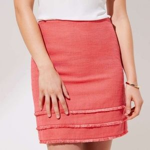 LOFT Tiered Fringe Lined Shift Skirt Size 18
